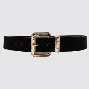 Zara Bejeweled Velvet Belt